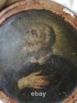 Superbe portrait d'un saint, XVI ème religion catholique, huile sur bois, tondo