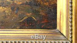 Superbe tableau huile sur panneau de bois figurant un intérieur détable