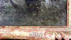 Superbe tableau huile sur panneau de bois suiveur de Corot