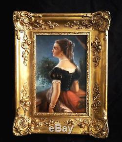 Superbe tableau portrait de femme romantique, encadré. Ecole Française XIX ème