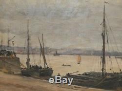 Sur les quais de Bordeaux 1905. Rare tableau de Paul Saïn (1853-1908)