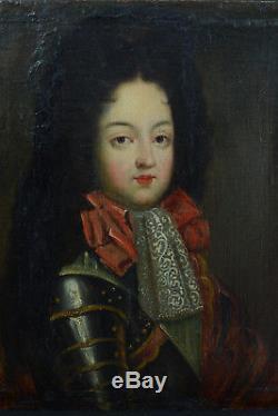 TABLEAU ANCIEN PORTRAIT en Armure Du Dauphin Roi Bourbon Pierre Gobert 18e
