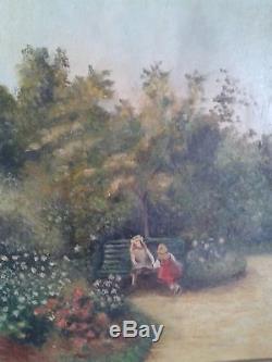 TABLEAU Adorable HUILE SUR PANNEAU Fillettes assises sur un banc, esprit 1900