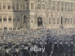 TABLEAU HOTEL DE VILLE DÉFILÉ Militaire PARIS FÊTE 14 JUILLET1882 MARIN BALDO