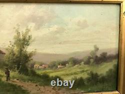 TABLEAU HUILE SUR PANNEAU BOIS signé Bertin paysage du Jura vers 1880
