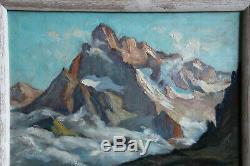 TABLEAU de montagne HST représentant l'Olan et le lac de Pétarel, C H Contencin