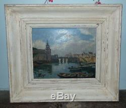 TABLEAU peinture à l'huile sur bois CONCARNEAU par Lucien SEEVAGEN