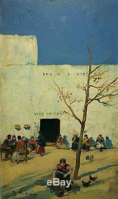 Taberne De Village. Huile Sur Panneau. Signé. Ramon F. . Espagne. Circa 1850