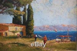 Tableau 1930 Baie Golfe Provence Marine Bateau Blondel Mer Méditerranée Mas Pin