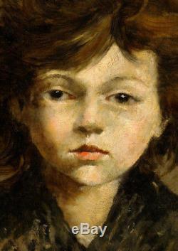 Tableau 19ème sur bois Portrait Fillette Léon Comerre
