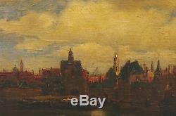 Tableau 19ème vue de Delft Holland Pays Bas Vermmeer sur Bois