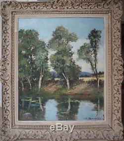 Tableau AMEDEE BOUCHER (1899-1960) Etang en forêt de Fontainebleau + cadre