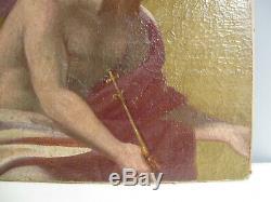 Tableau Ancien 1780 Environ-xviii Siècle-scène Mythologique-peinture A L'huile