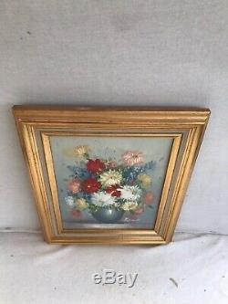 Tableau Ancien Bouquet de Fleurs FRÉDÉRICK Huile sur Toile + Cadre Bois Doré