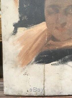 Tableau Ancien Etude Portrait Femme Alice Kaub-Casalonga (1875-1948) XIXE