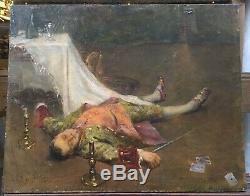 Tableau Ancien Homme Inanimé Épée Cartes Théatre Alice Kaub-Casalonga 1875-1948