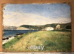Tableau Ancien Huile Gaston ROULLET (1847-1925) Paysage Mer Côte Trieste Italie