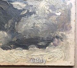 Tableau Ancien Huile Paysage Mer Vagues Ciel Jules Grün (1868-1938) vers 1900