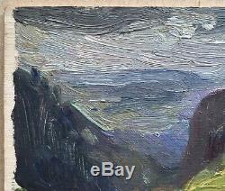Tableau Ancien Huile Paysage Montagne Jules Grün (1868-1938) vers 1900