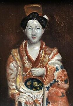Tableau Ancien Huile Portrait Femme Japonaise Costume Traditionnel Kimono Cadre