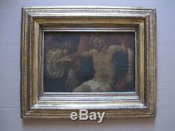Tableau Ancien Huile Religieux La Déposition du Christ Ecole italienne du XVIII