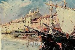 Tableau Ancien Marine Bateaux Saint Tropez Signé Salomon Le Tropézien XXème
