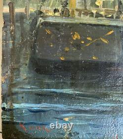 Tableau Ancien Marine Port Bateau Impressionniste signé Roux