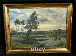 Tableau Ancien Paysage Animé Pêcheurs Rivière Impressionniste Signé Ed. Lambert
