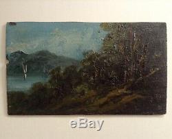 Tableau Ancien XIXe Impressionniste Bateau Lac d'ANNECY Savoie signé A. GAFFINOT