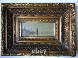 Tableau Ancien XIXe Paysage Marine Orientaliste Huile sur bois Signée Encadrée