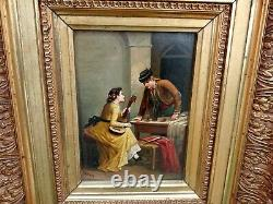 Tableau Ancien huile sur panneau bois SCENE ROMANTIQUE signer/ PEREZ