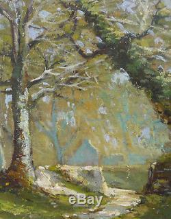 Tableau Chemin éclairé en sous bois avec chaumière G. Fontaine XIX° siècle