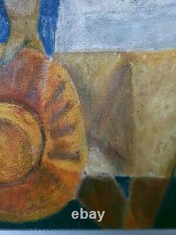 Tableau Cubiste Huile sur Toile Les Amoureux du peintre Lyonnais A. MANJOT XXe