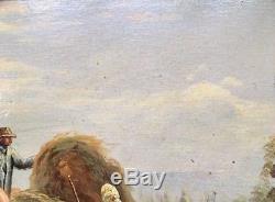 Tableau ÉCOLE FRANÇAISE Signé BRUNEL Peinture Huile PAYSAGE ANIMÉ Cadre LOUIS XV