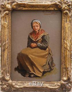 Tableau Ed. Jean baptiste Tschaggeny (1818-1873) Jeune Paysanne + cadre