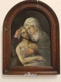 Tableau Flamand ancien religieux XVII e, Pietà, daté 1601, le Christ