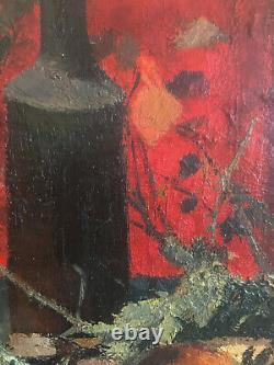 Tableau HSP Nature morte japonisante Expressionniste signé JM Richard 1957