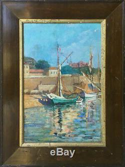 Tableau HSP Orientaliste Barque au port par Louis Debanne (XIX°)