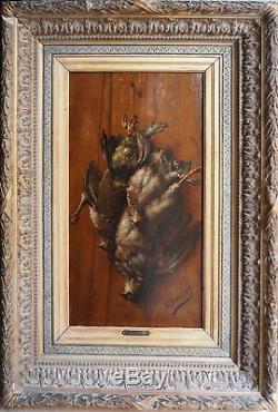 Tableau HSP XIX° Trompe l'oeil Gibier signé L. Duveny avec cadre + cartouche