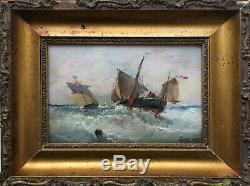 Tableau HSP de Jean GEORGES (1890-) Marine Voile française tempête