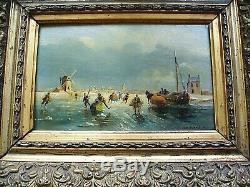 Tableau Hollandais Marine Huile sur Bois signé VAN DURME. A 15.5cm X24cm