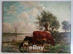 Tableau Huile Peinture Sur Bois Ecole Hollandaise Animalier Signature Illisible