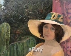 Tableau Huile Portrait Jeune Fille Yvonne Ripa de Roveredo 1916 Art Nouveau