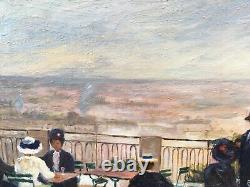 Tableau Huile Scène De Genre Terrasse Butte Montmartre Anne De Saeger (Né 1947)