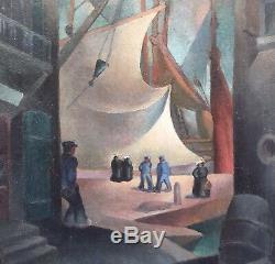 Tableau Huile Style Cubiste Emmanuel Poirier Port Bateaux Marins 1930 Encadré
