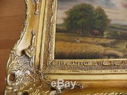 Tableau Huile Sur Bois Signée Ba-carvers & Gilders Cadre Bois Doré