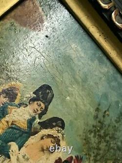Tableau Huile marouflée sur bois Le Mariage signé G H Bouilh à ident fin 19 eme