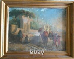Tableau Huile sur Toile orientaliste Cavalier et Soldat 56 x 45 cm XIX