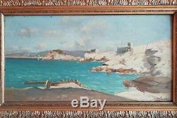 Tableau Huile sur bois Paysage Marine Fort au large Marseille H DE CUEJA XIXe