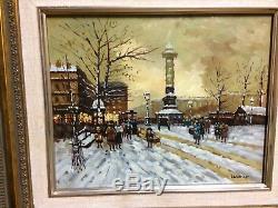 Tableau Huile sur bois Vue de Paris enneigé signé Leroux